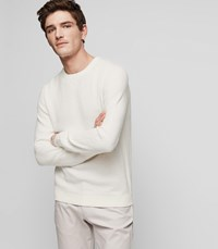 Reiss Laurence Textured Crew Neck Jumper In White