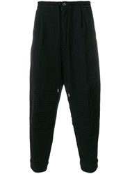 The Viridi Anne Ribbed Drawstring Sweat Pants Cotton Black