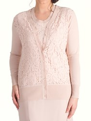 Chesca Corded Lace Trim Cardigan Dark Blush