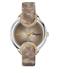 Salvatore Ferragamo Diamond Accented Stainless Steel Embossed Leather Strap Watch Fiz060015 Brown
