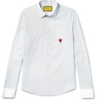 Gucci Double Cuff Heart Embroidered Striped Cotton Poplin Shirt Red