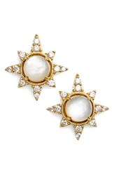 Nadri Women's Holiday Star Stud Earrings White Mop Gold