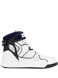 Balmain Lace Up Hi Top Sneakers White