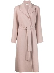 The Row Long Line Cashmere Coat Pink