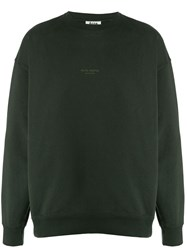 Acne Studios Inverted Logo Print Crewneck Sweater Green
