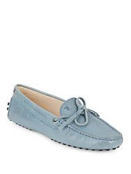 Tod's Bow Accented Leather Shoes Light Blue