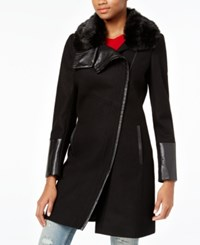 Rachel Roy Mixed Media Asymmetrical Walker Coat Only At Macy's Black