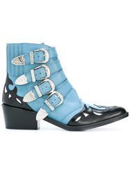 Toga Ankle Height Buckle Boots Blue