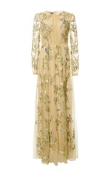Monique Lhuillier Chartreuse Embroidered Long Sleeve Gown Green