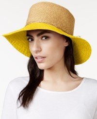 Nine West Canvas And Straw Floppy Hat Yellow