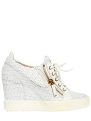 Giuseppe Zanotti 85Mm Croc Leather Wedged Sneakers White