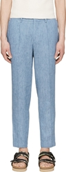 Msgm Blue Pleated Slub Trousers