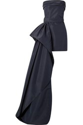 Reem Acra Asymmetric Draped Silk Faille Mini Dress Navy