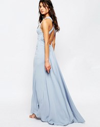 Jarlo Sasha High Neck Maxi Dress With Train Blue