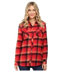 Volcom Desert High Long Sleeve Top Scarlet Women's Long Sleeve Button Up Red
