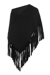 Burberry Shoes And Accessories Fringed Wool Scarf Black