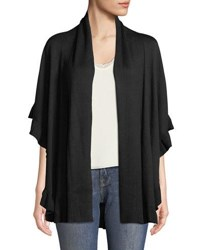 Chelsea And Theodore Ruffle Trimmed Cape Cardigan Black