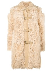 Red Valentino Fur Duffle Coat Nude And Neutrals
