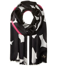 Kate Spade Blot Dot Silk Oblong Scarf Black Scarves
