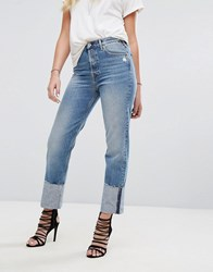 Replay High Waist Jean With Extended Hem Detail Light Wash Blue