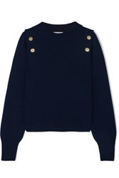 Sonia Rykiel Button Embellished Wool And Cashmere Blend Sweater Navy