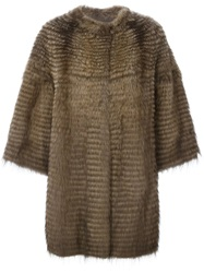 Liska Three Quarter Sleeves Coat Brown