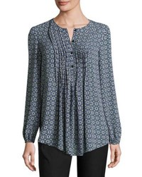 Max Studio Pintucked Printed Blouse Black Purp
