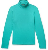 Calvin Klein 205W39nyc Slim Fit Logo Embroidered Stretch Cotton Jersey Rollneck T Shirt Teal