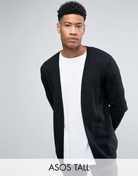 Asos Tall Longline Open Cardigan In Cable With Rib Detail Black