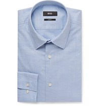 Boss Light Blue Jack Slim Fit Washed Cotton Shirt