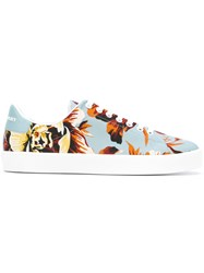 Burberry Floral Print Sneakers Blue