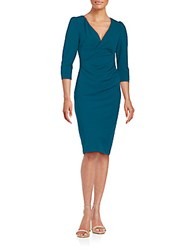 Betsey Johnson Solid Ruched Dress Teal