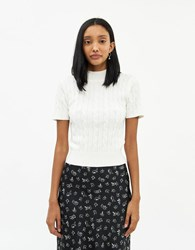 Farrow Claudine Cable Knit Top In White Size Small