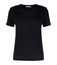 Maje Trident Macrame T Shirt Female Black