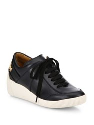 See By Chloe Duncan Leather Wedge Sneakers Black