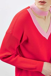 Boutique Contrast V Choker Knit By Red