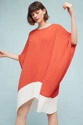 Anthropologie Pleated Colorblock Tunic Dress Light Red