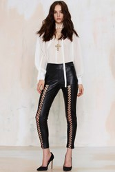 Nasty Gal Lace Cadet Vegan Leather Leggings