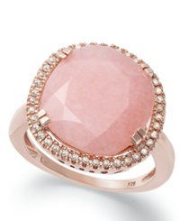 Macy's 14K Rose Gold Over Sterling Silver Ring Pink Opal 4 3 4 Ct. T.W. And Diamond 1 5 Ct. T.W. Ring