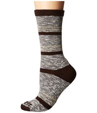 Carhartt Merino Wool Blend Slub Stripe Brown Women's Crew Cut Socks Shoes