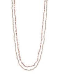 Lena Skadegard 5Mm Pink Potato Pearl And Zircon Long Beaded Strand Necklace Gold Pink