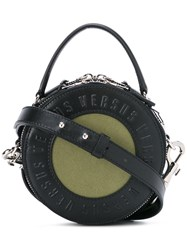 Versus Logo Embossed Round Tote Women Cotton Leather One Size Black