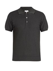 Brioni Zigzag Waffle Knit Cotton Polo Shirt Grey