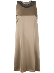 Brunello Cucinelli Sleeveless Bead Collar Dress Women Silk Acetate Viscose S Nude Neutrals