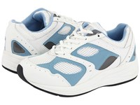 Drew Shoe Flare White Blue Leather White Mesh Women's Walking Shoes