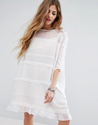 Religion Sheer T Shirt Dress With Frill Sleeves And Hem White