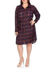 Lucky Brand Plus Plaid Belted Shirt Dress Blue