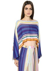 Missoni Striped Knit Cropped Poncho Top