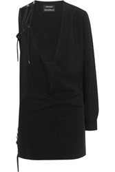 Anthony Vaccarello One Shoulder Lace Up Mohair And Wool Blend Mini Dress Black