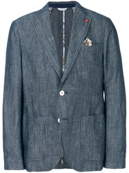 Manuel Ritz Textured Casual Blazer Blue
